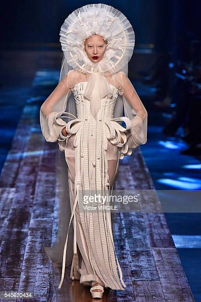 Soo Joo Park walks the runway during the Jean Paul Gaultier Haute Couture Fall/Winter 20162017 show as part of Paris Fashion Week on July 6 2016 in...