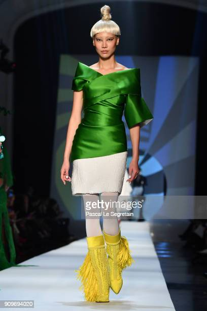 Soo Joo Park walks the runway during the JeanPaul Gaultier Spring Summer 2018 show as part of Paris Fashion Week on January 24 2018 in Paris France