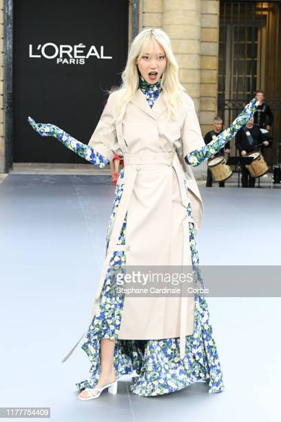 Soo Joo Park walks the runway during the Le Defile L'Oreal Paris Show as part of Paris Fashion Week on September 28 2019 in Paris France