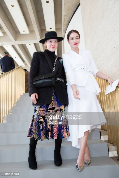 Sookyung Seo and Lee MinJung attend the Michael Kors Collection Fall 2018 Runway Show at the Vivian Beaumont Theatre on February 14 2018 in New York...