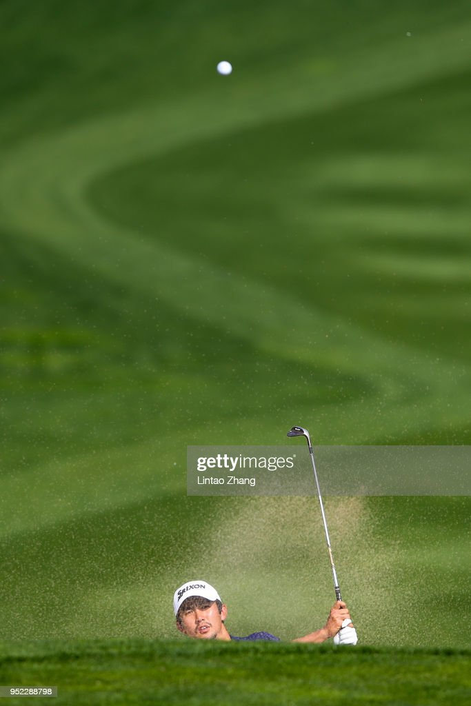Soomin Lee of Korea plays a shot during the day three of the 2018 Volvo China Open at Topwin Golf and Country Club on April 28, 2018 in Beijing, China.