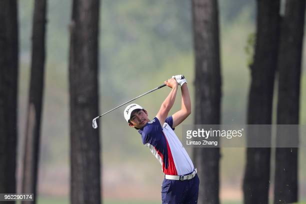 Soomin Lee of Korea plays a shot during the day three of the 2018 Volvo China Open at Topwin Golf and Country Club on April 28 2018 in Beijing China