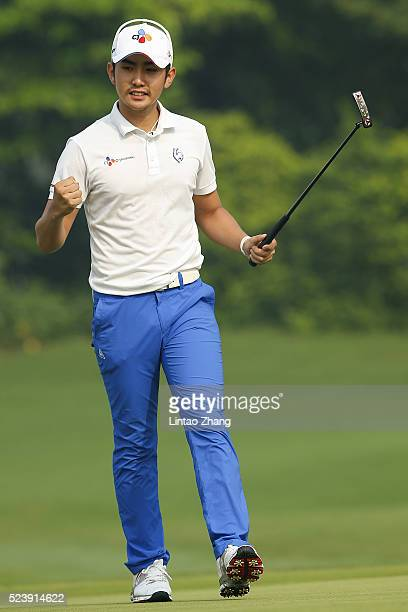 Soomin Lee of South Korea celebrates his winning putt during the final round of the Shenzhen International at Genzon Golf Club on April 25 2016 in...