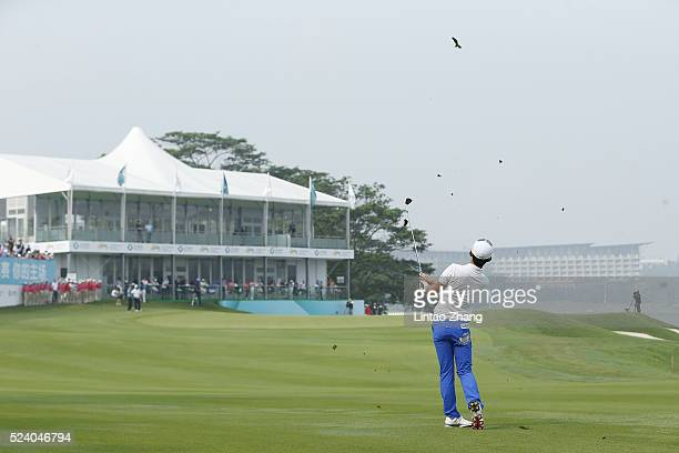 Soomin Lee of South Korea plays a shot during the final round of the Shenzhen International at Genzon Golf Club on April 25 2016 in Shenzhen China
