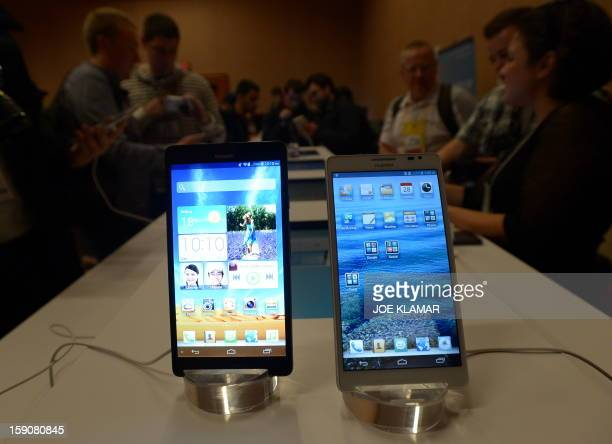 Soon to be released Huawei new smartphones Ascend Mate are presented at the 2013 International Consumer Electronics Show in Las Vegas on January 7...