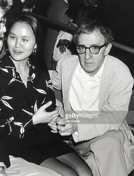 Soon Yi Previn and Woody Allen during Woody Allen Sighting at New York Knicks vs Chicago Bulls May 18 1994 at Madison Square Garden in New York City...