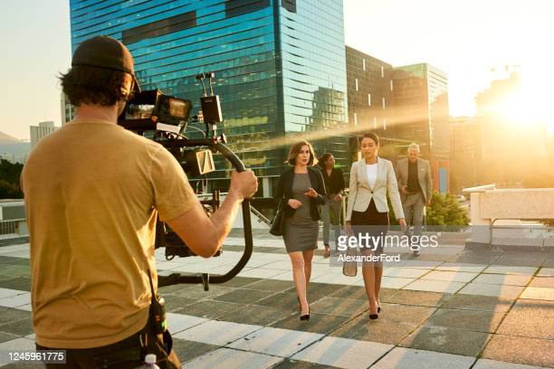 soon you'll see their names in big lights - film crew stock pictures, royalty-free photos & images