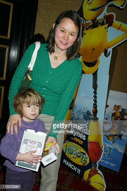 SoonYi Allen and her daughter Manzie during Robots Special New York Screening and Lobby Party at Ziegfeld Theater in New York City New York United...