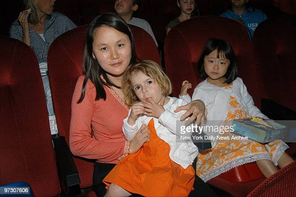 SoonYi Allen with daughters Manzie Tio and Bechet Dumaine attend a special screening of the animated movie Sinbad Legend of the Seven Seas at...