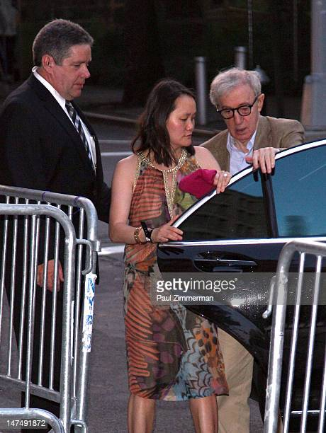 SoonYi Previn and Woody Allen attends Alec Baldwin and Hilaria Thomas' wedding reception held atop New York University's Kimmel Center on June 30...