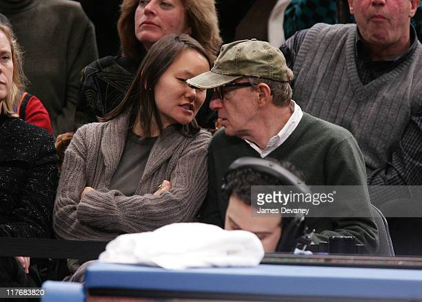 Soon-Yi Previn and Woody Allen during Celebrities Attend Indiana Pacers vs. New York Knicks Game - November 4, 2006 at Madison Square Garden in New...