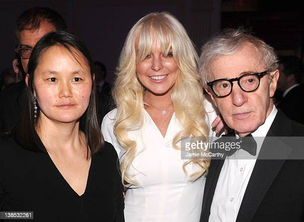 SoonYi Previn Lindsay Lohan and Woody Allen attend the amfAR New York Gala To Kick Off Fall 2012 Fashion Week at Cipriani Wall Street on February 8...