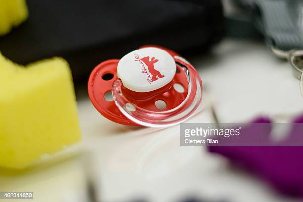 A soother with the logo of the Berlinale Film Festival is on display during the 65th Berlinale International Film Festival Press Conference on...