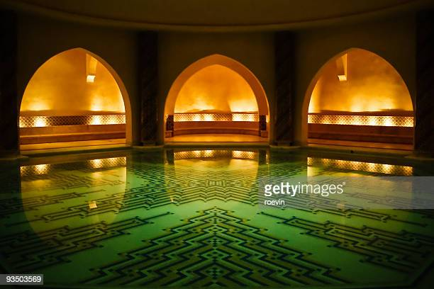 soothing hammam - mosque hassan ii stock photos and pictures