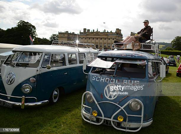 Sooty Shuttleworth of Bingley sits on his 1957 VW splitscreen a former Queenwood school bus in Australia on display during the 'In Praise Of All...