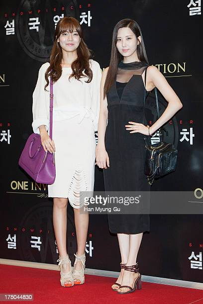 Sooyoung and Seohyun of South Korean girl group Girls' Generation attend the 'Snowpiercer' South Korea premiere at Times Square on July 29 2013 in...