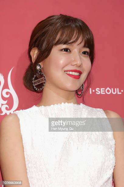 Sooyoung earring detail of South Korean girl group Girls' Generation attends the photocall for Seoul International Drama Awards 2018 at the KBS on...