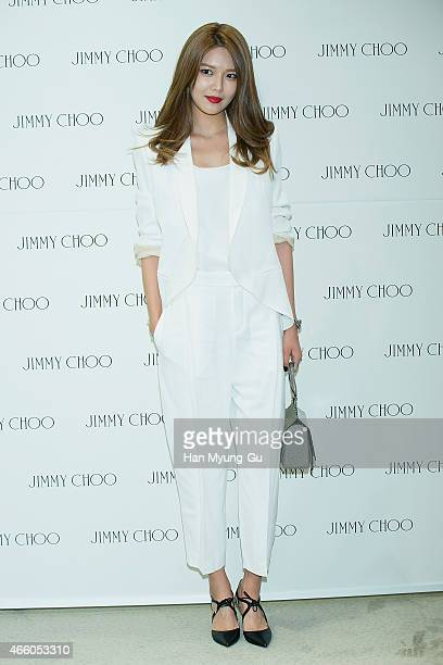 Sooyoung of South Korean girl group Girls' Generation attends the renewal opening event for Jimmy Choo at Hyundai Department Store on March 13, 2015...