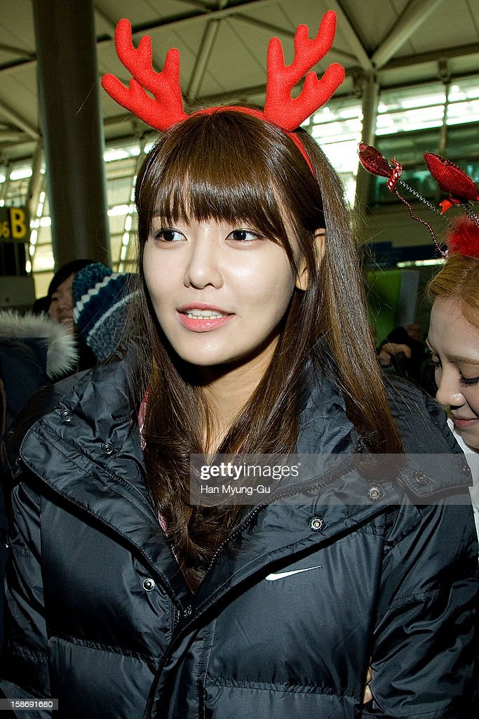 Sooyoung of South Korean girl group Girls' Generation is seen at Incheon International Airport on December 24, 2012 in Incheon, South Korea.