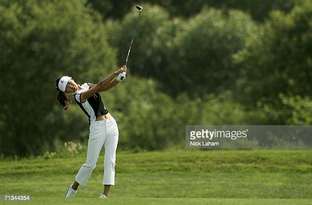 SooYun Kang of Korea hits her second shot on the fourtenth during the first round of the 2006 US Women's Open on June 30 2006 at Newport Country Club...