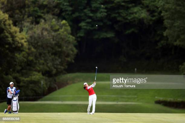 SooYun Kang of South Korea hits her second shot on the 14th hole during the second round of the Resorttrust Ladies at the Oakmont Golf Club on May 27...