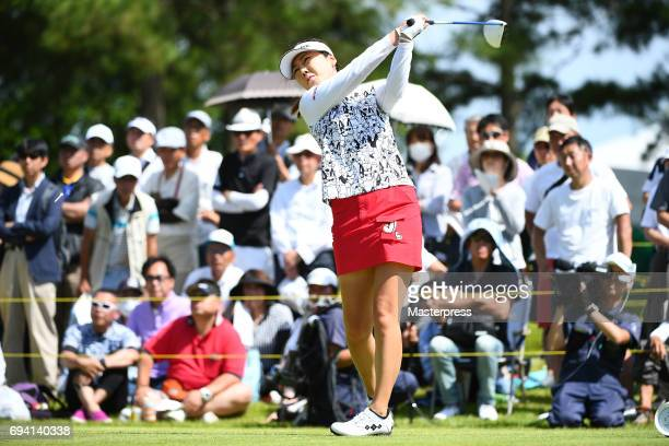 SooYun Kang of South Korea hits her tee shot on the 10th hole during the second round of the Suntory Ladies Open at the Rokko Kokusai Golf Club on...