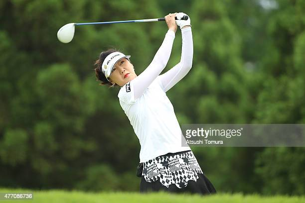 SooYun Kang of South Korea hits her tee shot on the 13th hole during the Suntory Ladies Open at the Rokko Kokusai Golf Club on June 14 2015 in Kobe...