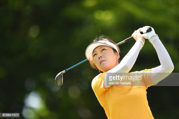 SooYun Kang of South Korea hits her tee shot on the 14th hole during the final round of the meiji Cup 2017 at the Sapporo Kokusai Country Club...