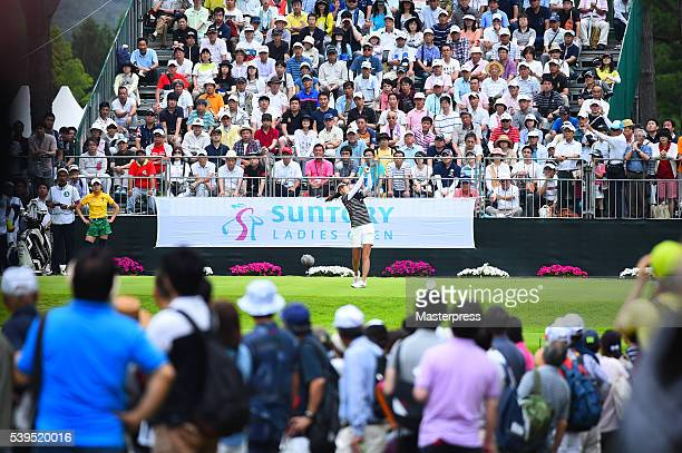 SooYun Kang of South Korea hits her tee shot on the 1st hole during the final round of the Suntory Ladies Open at the Rokko Kokusai Golf Club on June...