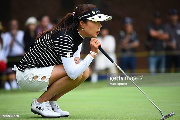 SooYun Kang of South Korea lines up during the final round of the Suntory Ladies Open at the Rokko Kokusai Golf Club on June 12 2016 in Kobe Japan
