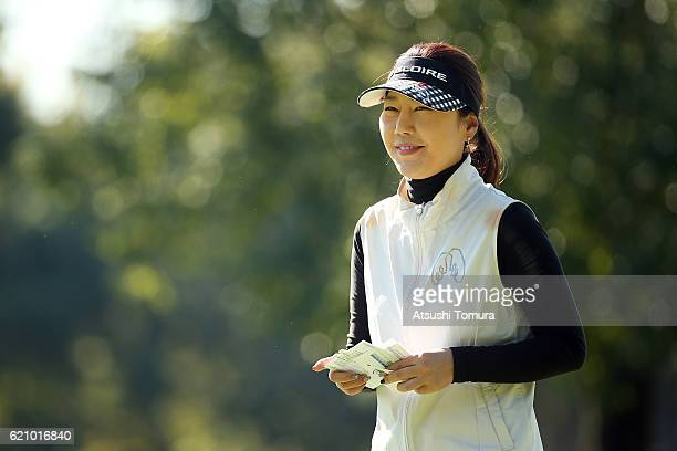 SooYun Kang of South korea smiles after making her birdie putt on the 9th green during the first round of the TOTO Japan Classics 2016 at the...