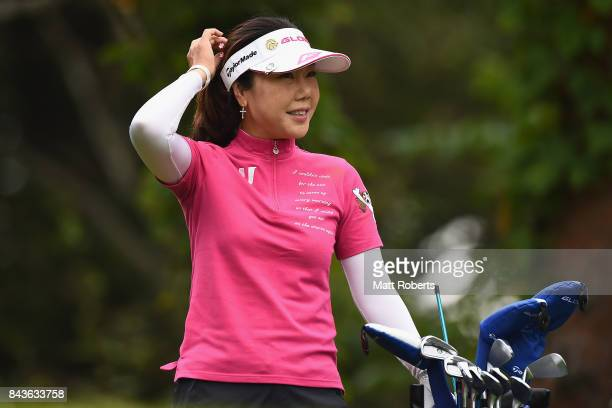 SooYun Kang of South Korea smiles during the first round of the 50th LPGA Championship Konica Minolta Cup 2017 at the Appi Kogen Golf Club on...