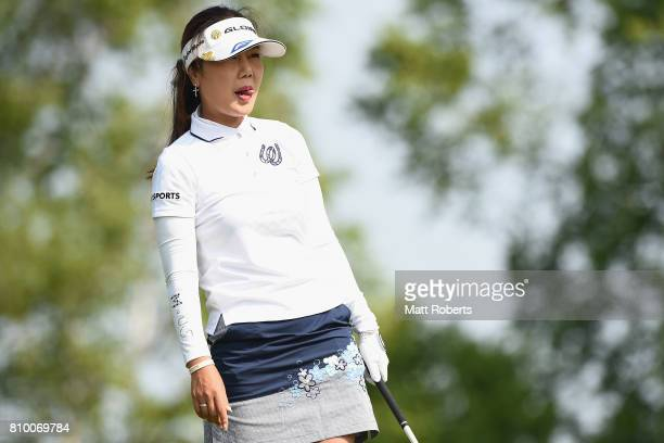 SooYun Kang of South Korea watches her tee shot on the 1st hole during the first round of the Nipponham Ladies Classics at the Ambix Hakodate Club on...