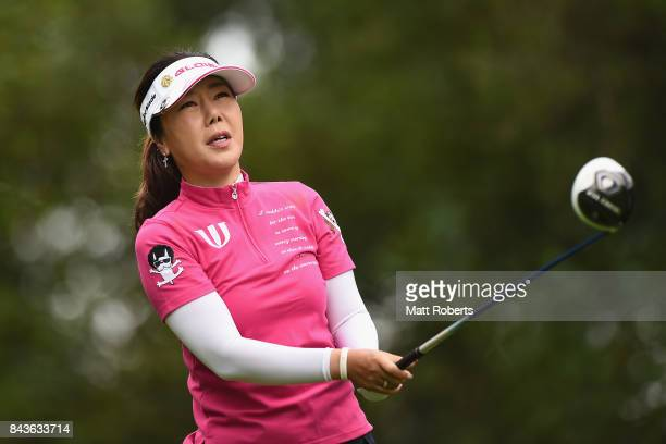 SooYun Kang of South Korea watches her tee shot on the 2nd hole during the first round of the 50th LPGA Championship Konica Minolta Cup 2017 at the...