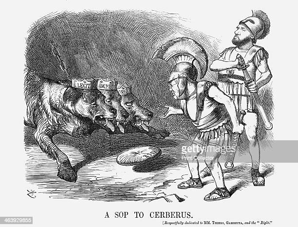 'A Sop to Cerberus' 1872 This cartoon shows Louis Adolphe Thiers the first president of the Third Republic and Leon Gambetta the deputy for...