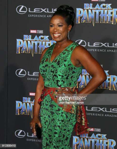 Sope Aluko attends the premiere of Disney and Marvel's 'Black Panther' on January 29 2018 in Los Angeles California
