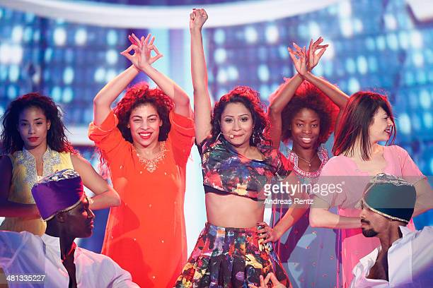 Sophia Akkara performs at the rehearsal for the 1st 'Deutschland sucht den Superstar' show at Coloneum on March 29 2014 in Cologne Germany