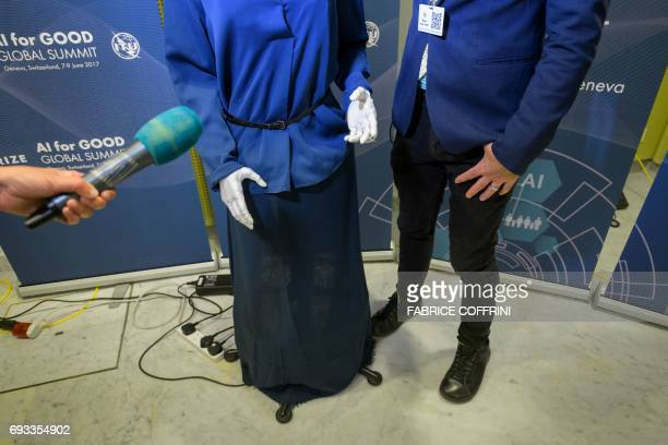 'Sophia' an artificially intelligent humanlike robot developed by Hong Kongbased humanoid robotics company Hanson Robotics is pictured during the 'AI...