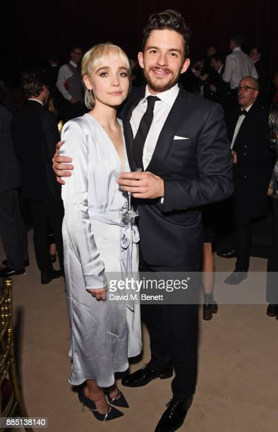 Sophia Anne Caruso and Jonathan Bailey attend the London Evening Standard Theatre Awards 2017 after party at the Theatre Royal Drury Lane on December...