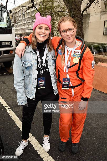 Sophia Bush and Amy Schumer attend the rally at the Women's March on Washington on January 21 2017 in Washington DC