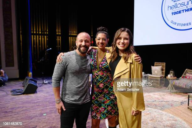 Sophia Bush and Ryan Weiss Maytha Alhassen and Sophia Bush pose for the camera after speaking at the Hello Sunshine x Together Live presentation at...