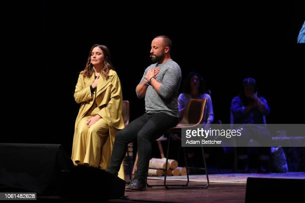 Sophia Bush and Ryan Weiss speak at the Hello Sunshine x Together Live presentation at The Pantages Theater on November 13 2018 in Minneapolis...