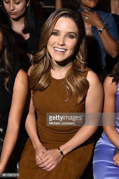 Sophia Bush attends the Cushnie Et Ochs fashion show during New York Fashion Week The Shows at The Dock Skylight at Moynihan Station on September 9...