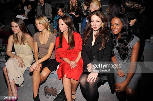 Sophia Bush Katrina Bowden Jennifer Love Hewitt Lynn Collins and Tika Sumpter attend the Max Azria Fall 2011 fashion show during MercedesBenz Fashion...