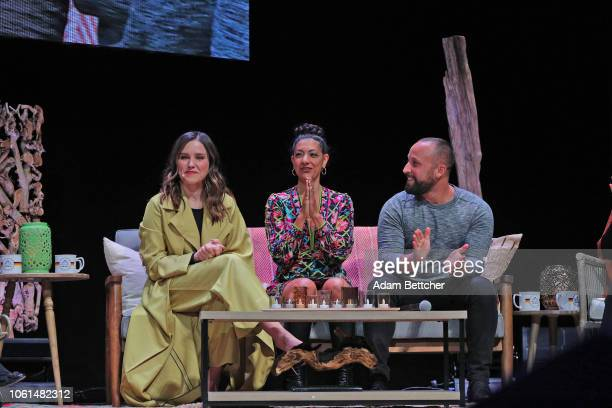 Sophia Bush Maytha Alhassen and Ryan Weiss speak at the Hello Sunshine x Together Live presentation at The Pantages Theater on November 13 2018 in...