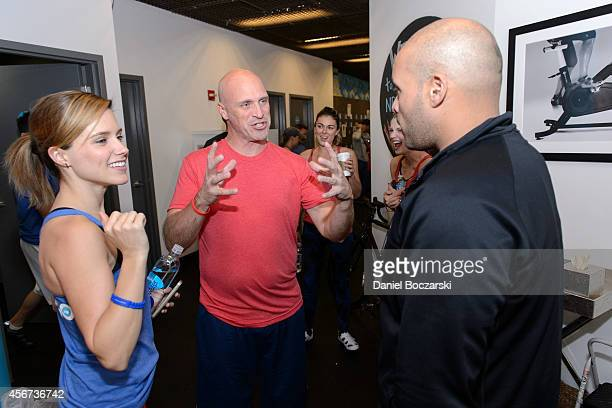 Sophia Bush Randy Flagler and Charlie Barnettattend as the casts of Chicago Fire and Chicago PD participate in a Flywheel Sports ride to benefit the...