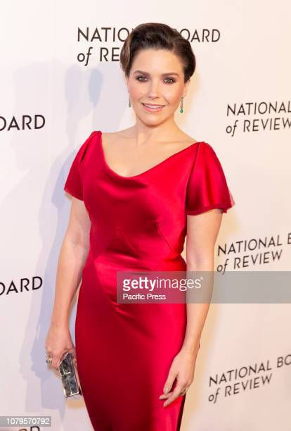 Sophia Bush wearing dress by Zac Posen attends National Board of Review 2019 Gala at Cipriani 42nd street.