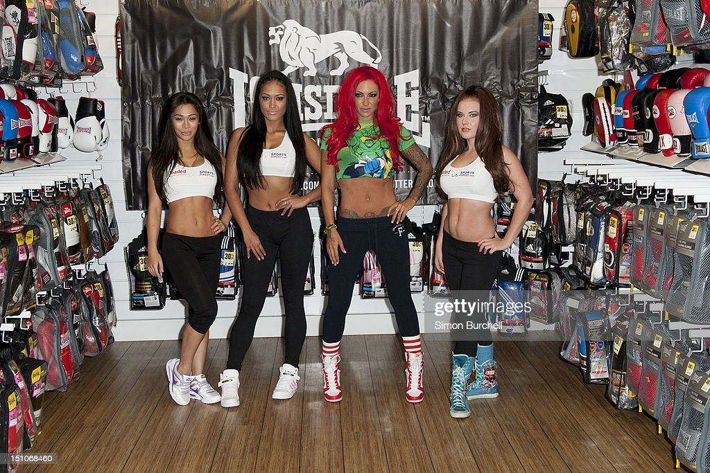 Sophia Chan, Farina West, Jodie Marsh and Hollie Capper present Loaded Glamour Girl Wrestling at Lillywhites on August 31, 2012 in London, England.