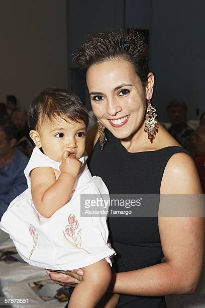 Sophia Chang and Claudia Trejos pose at Miami Fashion Week of the Americas at the Adolfo dominguez fashion show at the Miami Beach Convention Center...