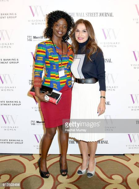 Sophia Diop Ouattara and Visionary Women Executive Board Member Angella Nazarian attend the Visionary Women 2018 Salon Mastering Your Money held at...